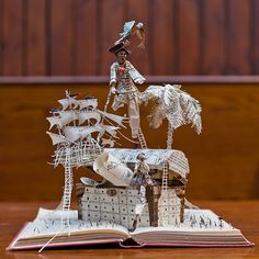 """Book sculpture: Robert Louis Stevenson's Treasure Island, by Scotland's secret book sculptor, who leaves """"magical paper models...in unexpected places across the country."""""""