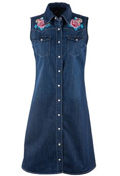STETSON SLEEVELESS EMBROIDERED DENIM DRESS - Cowgirl Delight Indie Outfits, Retro Outfits, Fashion Outfits, Western Dresses, Western Outfits, Mod Dress, Retro Dress, Embroidered Denim Dress, Las Vegas Fashion