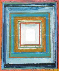 Composición con cuadrados concéntricos, acrylic on canvas, 17,5 x 21 cm. 2013. By Diego Manuel