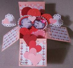 "Valentine Pop Up Box Card by Edwina Brown using ""Sealed with a Kiss"" set by Imagine That! Digis by Kris"