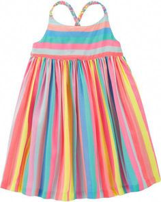 Baby Girl Rainbow Stripe Dress from OshKosh B'gosh. Shop clothing & accessories from a trusted name in kids, toddlers, and baby clothes. Newborn Girl Outfits, Baby Girl Dresses, Baby Dress, Kids Outfits, Burberry Baby Girl, Rainbow Outfit, Little Girl Fashion, Boy Fashion, Ladies Dress Design