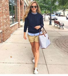 2f9a222c9a5 khaki shorts + navy striped button up shirt + navy cabled sweater + top  siders Preppy