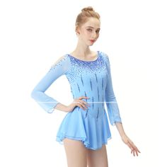 21Grams Figure Skating Dress Women's Girls' Ice Skating Dress Sky Blue Open Back Spandex Stretch Yarn High Elasticity Professional Competition Skating Wear Handmade Fashion Long Sleeve Ice Skating 2020 - US $133.89 Cute Dance Costumes, Skate Wear, Figure Skating Dresses, S Girls, Jackets Online, Competition, Dancing, Rompers, Spandex