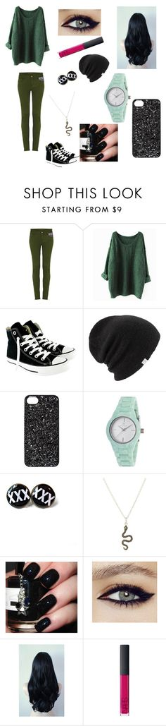 """""""Slytherin Casual"""" by half-blood-outfits ❤ liked on Polyvore featuring Pocket, Converse, Coal, Marc by Marc Jacobs, Clyda, Ileana Makri and NARS Cosmetics"""