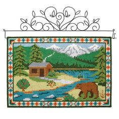 Herrschners Abstract Wolf Wall Hanging Plastic Canvas Kit