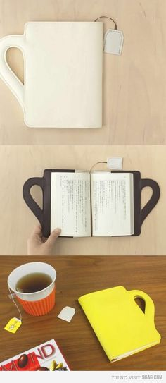 ....so cute. Cup shaped book cover with a built-in tea-bag book mark....good idea.
