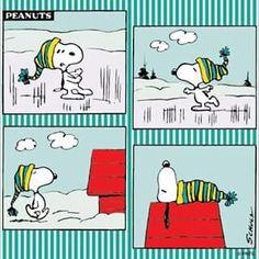 Snoopy stays warm in winter