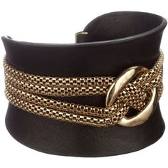 Black Leather Chain Cuff ($13) ❤ liked on Polyvore featuring jewelry, bracelets, accessories, joias, matthew williamson, women's clothing, chains jewelry, leather bangle, cuff bangle and cuff jewelry