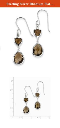 Sterling Silver Rhodium Plated Diamond and Smoky Quartz Earrings. Gem Wt- 6.1ct (1.5IN x 0.3IN ). Length:40mm / Width:10mm / Polished / Sterling silver / Diamond / Shepherd hook / Smokey quartz / Dangle / Rhodium-plated / Heat Treated Color Treatment.