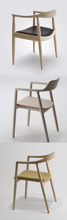 Maruni Hiroshima Arm Chair - by designer Naoto Fukasawa. Leather Dining Room Chairs, Dinning Chairs, Table And Chairs, Cool Furniture, Modern Furniture, Furniture Design, Sofa Chair, Armchair, Floor Protectors For Chairs