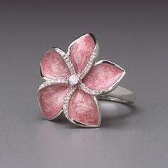 Sterling Silver White CZ Pink Enamel Plumeria Ring by Lenox