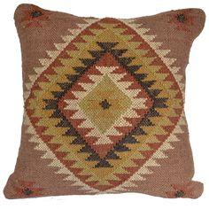 "16"" Wool Jute and Cotton mix handmade Kilim Cushion Cover"