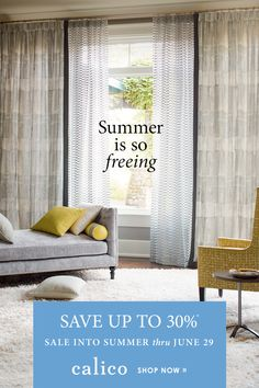 Summer isn't just a time to enjoy the great outdoors. Improve your indoors, too – with free design services and free professional measures on window treatments during Sale into Summer through June *Some exclusions apply. Free Interior Design, Interior Design Services, Free Design, Custom Window Treatments, Custom Windows, Custom Furniture, My Room, Slipcovers, Service Design