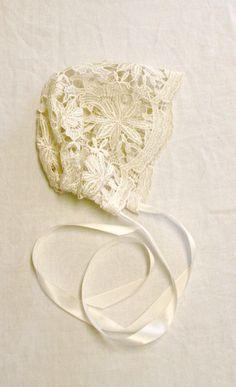Lace baby bonnet Ivory lace bonnet photo prop by StarlitesChild
