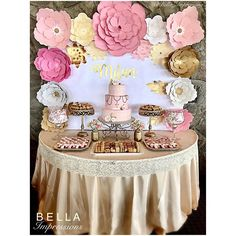 9 pcs - PAPER FLOWER BACKDROP - Custom Colors - All flowers in image - dessert table flowers - Kardashian baby shower flowers - Calculating Infinity Baby Shower Centerpieces, Baby Shower Favors, Baby Shower Cakes, Baby Shower Themes, Shower Ideas, Bridal Shower, Rosa Desserts, Pink Desserts, Pink Dessert Tables