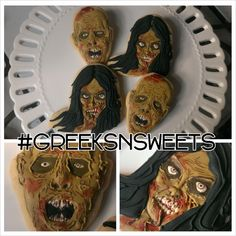 Zombie cookies (Perfect for Walking Dead Parties!!) .....Greeks-N-Sweets
