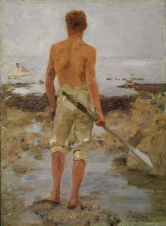 Henry Scott Tuke (English, 1858-1929), A boy with an oar, 1910. Oil on panel, 36.1 x 26 cm.