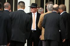Martin Crowe's brother Jeff Crowe (centre) among the crowd of guests at the funeral service in Parnell, Auckland