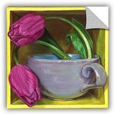 ArtAppealz Paige Wallis Tea & Tulips Removable Wall Art, Size: 36 x 36, Pink