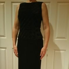 "Scott McClintock, wore 1x Scott McClintock formal gown, size 6.  Black with crushed velvet bodice.  Shell is 90% poly & 10% spandex.  Zips up back.  Dramatic 25"" center slit up lower back of gown.  Worn once, EUC - excellent condition. Vintage  Dresses Maxi"