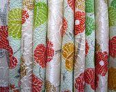 Green and Orange Silk Kimono Scrap Set of 10 Japanese textile Vintage fabric inches