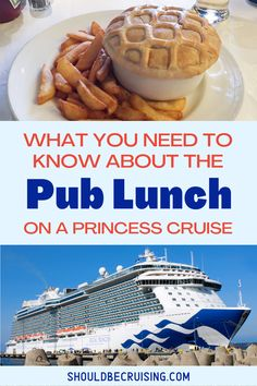 Princess Cruises' Pub Lunch has become very popular with in-the-know cruise fans. On sea days, passengers can enjoy British pub-style fare as a fun alternative to the buffet or main dining rooms.  Here's everything you need to know about the Pub Lunch, including what's on the menu with tips on what to try, and what to avoid.  #princesscruises #princesscruise #cruisetips #cruisefood #shouldbecruising Packing List For Cruise, Cruise Tips, Cruise Travel, Cruise Vacation, Shopping Travel, Beach Travel, Vacations, British Pub, Cruise Destinations