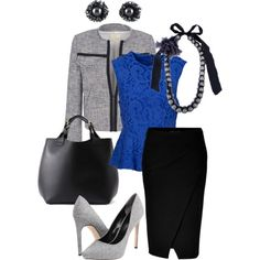 """""""Business Blues"""" by evelyn-forbes on Polyvore. Paisley peplum top with black peplum skirt and grey tweed blazer."""