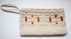 VINTAGE Cream Ivory MACRAMÉ Woven PURSE Clutch WRISTLET Strap Zipper Closure  #Unbranded #Clutch