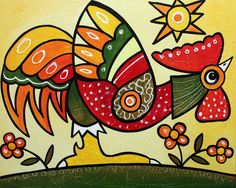 Rooster Art Chicken_Original Acrylic Painting by Tetiana