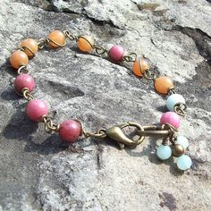 Bohemian Beauty - Wire Wrapped Gemstone Link Bracelet - Amazonite, Aventurine and Rhodonite by Angelof2, $22.00