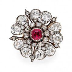 An Antique ruby and diamond Tudor Rose ring, circa 1860