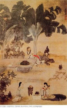 Drinking Wine in the Garden - Chen Hongshou - - - Ming Dynasty Best Pictures Ever, Cool Pictures, Arte Latina, Oriental, Chinese Landscape, Art Database, Oil Painting Reproductions, Ink Painting, Culture