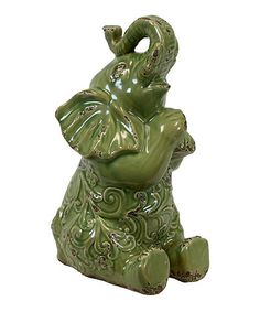 Loving this Gloss Olive Drab Ceramic Trumpeting Elephant on #zulily! #zulilyfinds