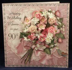 Pink Roses & Apple Blossom on a Frilly Lace Doily. 8 x 8 boxed decoupaged card. Available from:www.therhodaharveycollection.co.uk