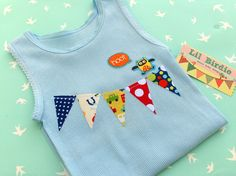 Baby Tank Baby Singlet Bunting Fabric Flags Baby Clothing. $15.00, via Etsy.