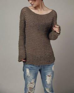 4a3fad49366df5 Hand knit woman sweater chocolate Eco sweater oversized mocha -ready to ship