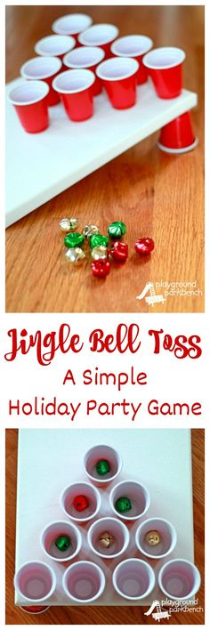 Looking for an indoor, active holiday party game?  Set up Jingle Bell Toss!  You can make this game in less than 5 minutes for less than $5 in materials!  Perfect for preschool and elementary school Christmas parties... maybe even adult holiday parties too!