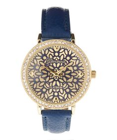 $14.99 Loving this Navy & Goldtone Floral Inlay Watch on #zulily! #zulilyfinds