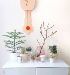 lovely collection of plants and pastel colour nude