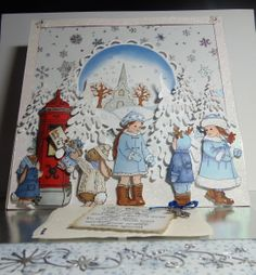 Mixed Christmas Card Crafts, Handmade Christmas, Paper Art, Paper Crafts, Easel Cards, Kids Cards, Card Ideas, Stamps, Card Making