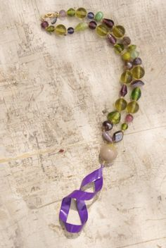Hand Crafted Purple And Green One Of A Kind Necklace by WisdomLane, $18.50