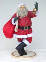 SANTA CLAUS WITH BEARD BELL & GIFT BAG CHRISTMAS DECOR 4.5FT