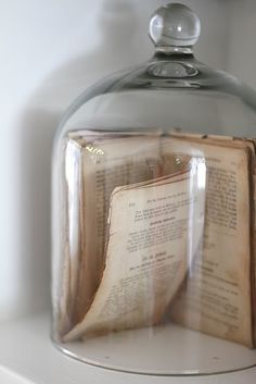 Vintage books in bell jars would make unique centrepieces for an antique-inspired soiree.