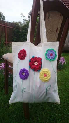 Cotton Tote Bags, Reusable Tote Bags, Crochet Flowers, Big Tote Bags, Embroidery Bags, Flower Bag, Crochet Tote, Presents For Her, Handmade Bags