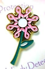 Breast Cancer Awareness Pin Pink Ribbon Flower Lapel Cap Tac Carded New