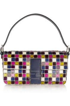 Baguette crystal and Perspex shoulder bag #bag #women #covetme #fendi