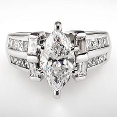 marquise diamond engagement rings with baguettes