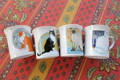 Set of 4 Cat Mugs Ceramic Vintage 1980s 90s Message Mugs by