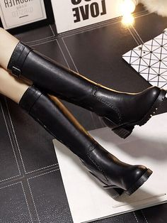 Black Buckle Strap Embellished Hole Detail PU Knee High Boots | Choies
