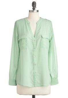 Meant to Breeze Top - Green, Solid, Buttons, Pockets, Long Sleeve, Casual, Mid-length, Pastel, Sheer, Mint, Button Down